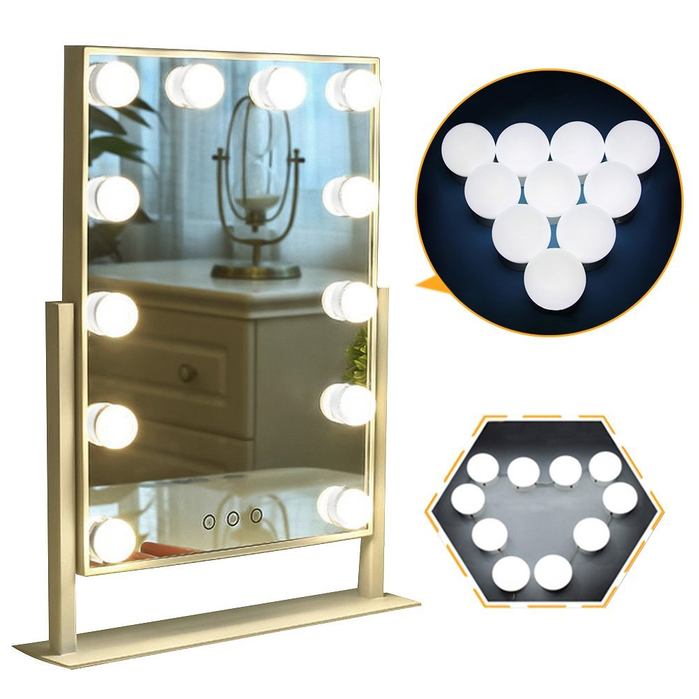 Hollywood Style LED Vanity Mirror Lights Kit with 10 Dimmable Bulbs, Plug in Makeup Mirror Lights with 3M Stickers Attached to Bathroom Wall or Dressing Table,15.2ft, Mirror Not Included CleanDell