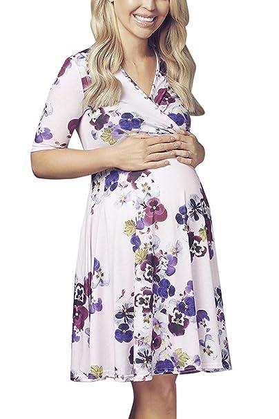 ebb486580 Embarazo Vestido Mujer Maternidad Enfermería Floral Manga Embarazo Casuales Mujeres  Vestidos Mini Corta con Cuello En V Ocio Moda Vestido De Maternidad ...
