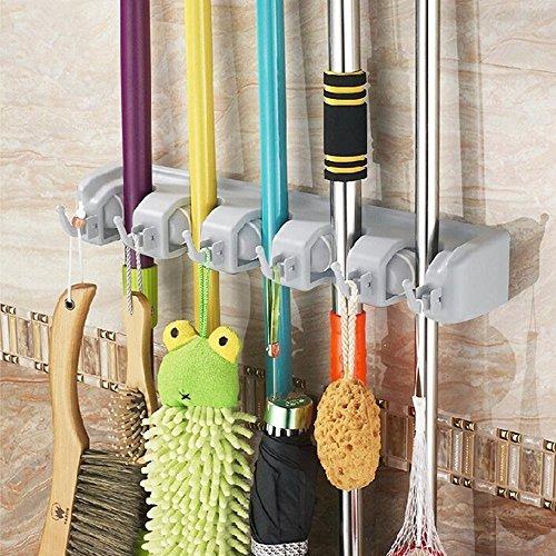 EchoAcc® Multifunktions Haushalts Mopp und Besen Kunststoff-Wandhalterung Umbrella Storage Rack (5 Position 6 Haken)