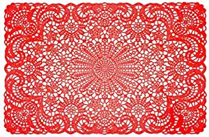 World Buyers Set Of 6 Vinyl Placemats 18x12 L Red Home Kitchen Amazon Com