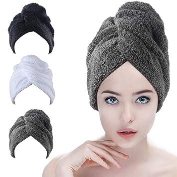 4 X BLACK MICROFIBRE MICRO FIBRE HAIR WRAP TURBIE TOWEL