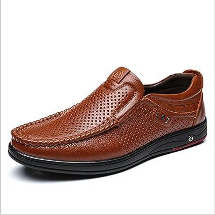 Zapatos de cuero para hombre de negocios formales, zapatos de negocios ocasionales, mocasines y