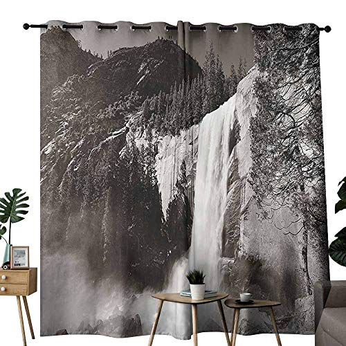 Mannwarehouse Apartment Decor Classical Curtain Waterfalls in Yosemite National Park in California Monochromic Old Picture Print Set of Two Panels W120 x L84 Black White (Best Waterfalls In Southern California)