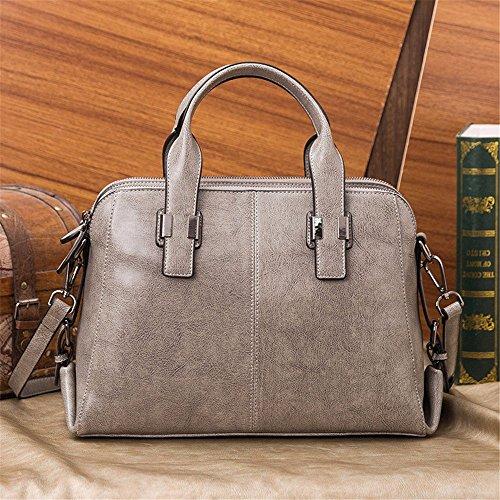 Solo bolso de cuero bolso cruz oblicua paquete profesional Paquete de Negocios Paquete Dama de sacos a granel, 36*15*24cm, gris claro Gris claro