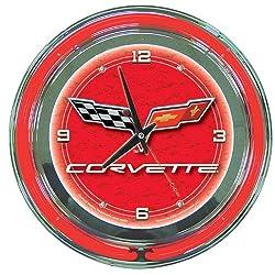 Corvette C6 Neon Clock - 14 inch Diameter - Red SKU-PAS406219 [Misc.]