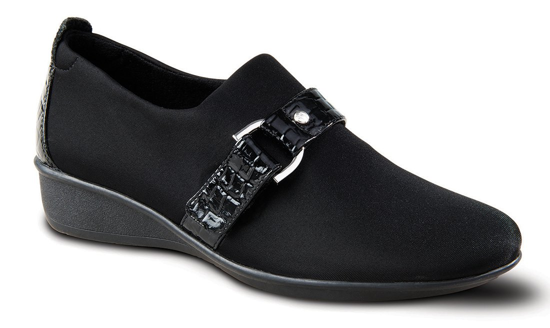 Revere Genoa Women's Comfort Shoe with Removable Footbed: Black 8 Wide (D) Slip-On