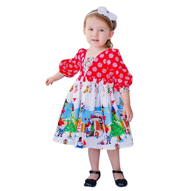 BURFLY Mädchen Langarm Kleid Baby Kleid Druck Kleid Karikatur ...