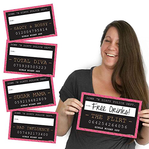 Big Dot of Happiness Girls Night Out - Party Mug Shots - Photo Booth Props Bachelorette Party Mugshot Signs - 10 Count