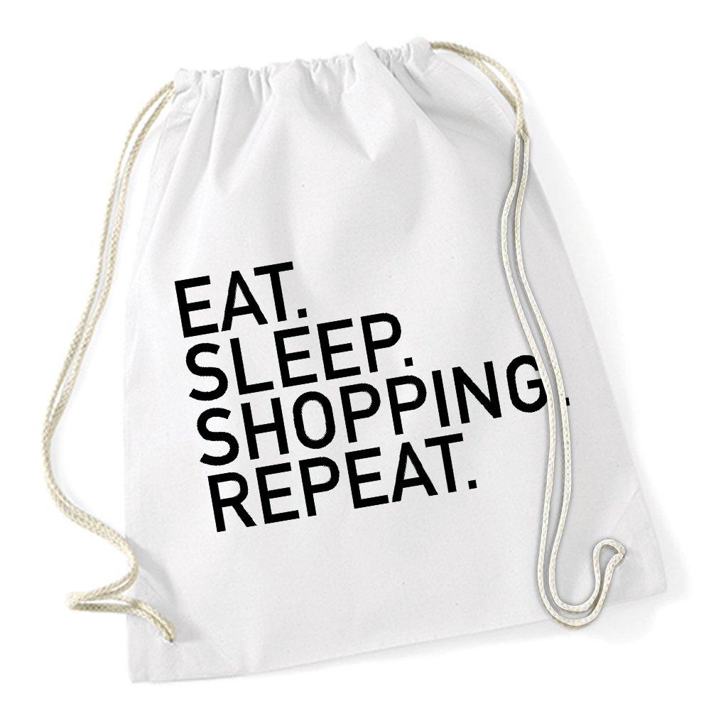 Eat Sleep Shopping Repeat Sac De Gym Blanc Certified Freak