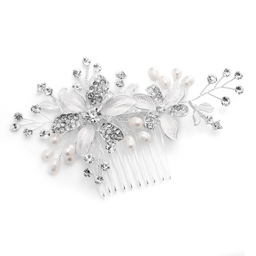 Mariell Bridal Hair Comb for Brides with Freshwater Pearl, Hand-Painted Enamel Leaves & Austrian Crystals