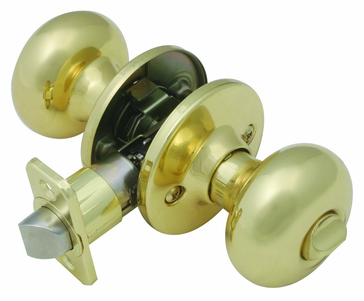 Design House 741272 Cambridge Universal Latch Privacy Door Knob, Adjustable Backset, Polished Brass Finish