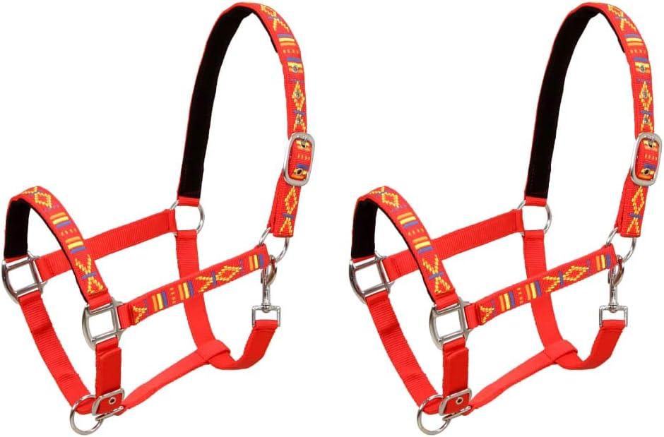 Festnight 2 Unidades Cabezadas de Caballo Nylon Ajustable Tamaño Grande Rojo