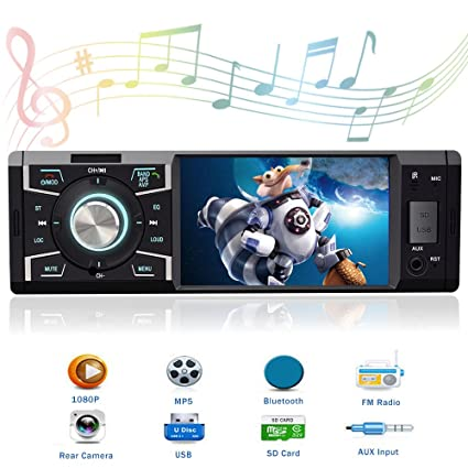 Single Din in Dash Car Stereo with Bluetooth Car Radio 4 1 Inch Car Audio  Stereo for Cars with Rear View Camera Car Stereo Receiver Support  USB/SD/AUX