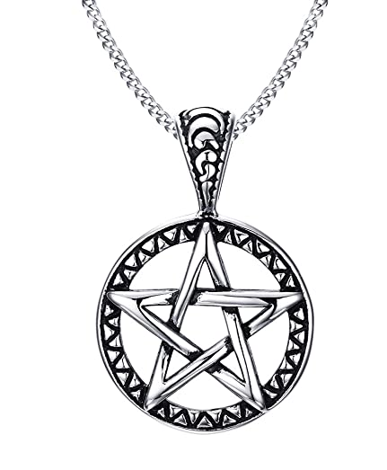 Stainless steel pentagram pendant necklace for men women wiccan stainless steel pentagram pendant necklace for men women wiccan jewelry aloadofball Gallery
