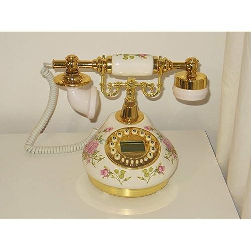 New Replica Antique Telephone, Vintage Retro landline house home phone handset, corded machine Golden fashion 60s classic dial set BT antik