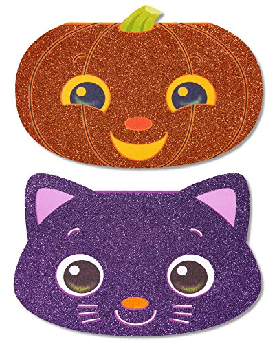American Greetings Pumpkin Halloween Card with Glitter, -