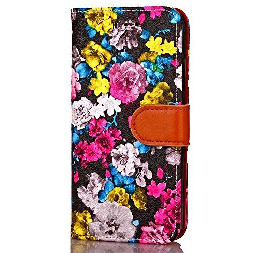 JIALUN-carcasa de telefono Cuadro de tinta de las flores Patrón de la caja de cuero Horizontal Flip Funda de la caja Funda de la carpeta Folio con Marco de fotos para Apple iPhone 6 Plus ( Color : 3 ) 4