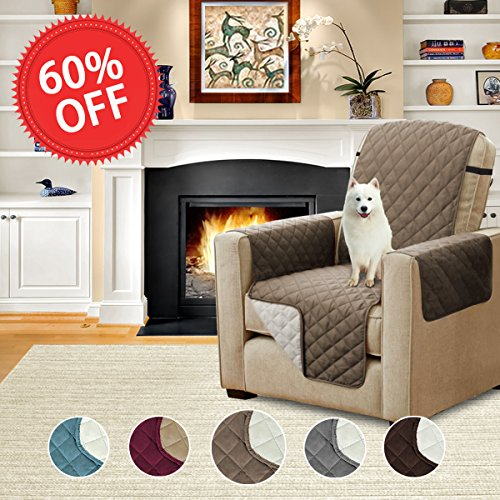 H.Versailtex Quilted Quick Drape Reversible Furniture Cover / Pet Friendly Protector for Sofa with Adjustable Straps (Recliner: Taupe/Beige)-79 x 68 - (Furniture Sofa Recliner)