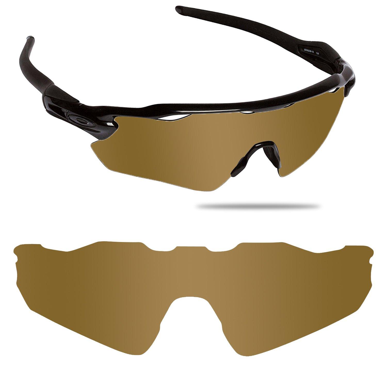 Fiskr Anti-saltwater Polarized Replacement Lenses for Oakley Radar EV Path Sunglasses (Bronze Gold - Anti4s Mirror Polarized, 0)