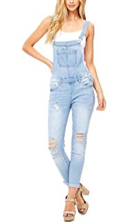 3a76d86b550 Misassy Womens Ripped Denim Bib Overall Jumpsuit Jeans Skinny Distressed  Long Rompers