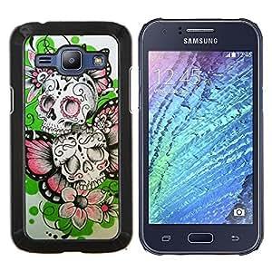 Stuss Case / Funda Carcasa protectora - Las flores de mariposa de primavera cráneo del motorista - Samsung Galaxy J1 J100