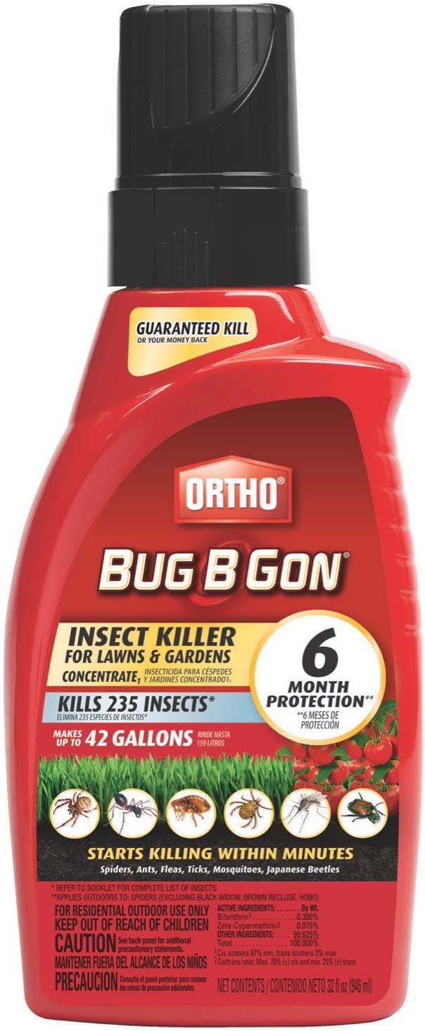 Ortho Bug B Gon Insect Killer for Lawn and Gardens Concentrate 1, 32 fl. oz. - Kills Spiders, Ants, Fleas, Ticks, Mosquitoes and Japanese Beetles - Makes Up to 42 gal.