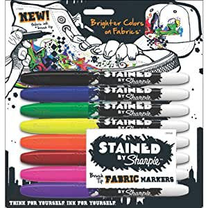Sanford Stained by Sharpie Fabric Markers, Assorted Colors, 8-Pack (1779005)