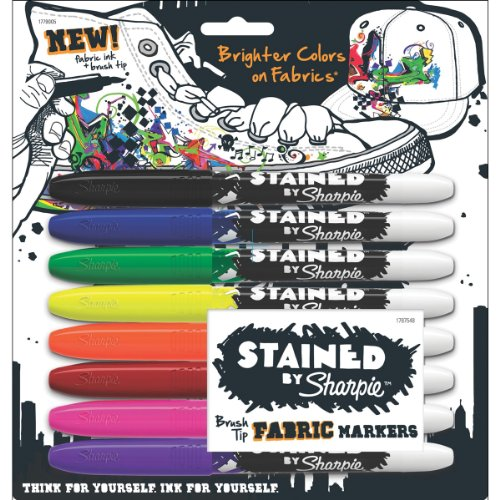 Sharpie 1779005 Stained Fabric Markers, Brush Tip, Assorted Colors, (Sharpie Permanent Pen)