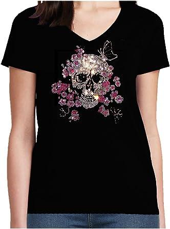 BlingelingShirts Elegante Mujer Camiseta Calavera Grande Calavera con Flores Color Rosa y Mariposa Brillantes Carnaval Disfraz Negro 48/50: Amazon.es: Ropa y accesorios