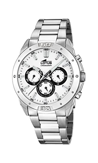 bd94faf6c Lotus Men's Quartz Watch with White Dial Chronograph Display and Silver  Stainless Steel Bracelet 15972/4: Amazon.co.uk: Watches