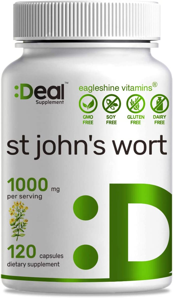 Deal Supplement St John s Wort 1000mg Serving, 120 Capsules, Non-GMO, Made in USA 120 Capsules