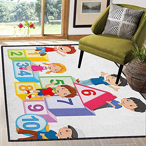 Educational Colorful Area Rug,Happy Kids Boys and Girls with Number Blocks Triangle Rectangle and Square with No-Slip pad Multicolor 67