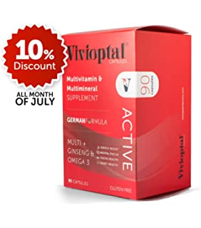 ViVivioptal Active 90 Capsules - Multivitamin & Multimineral Supplement - Ginseng & Omega 3