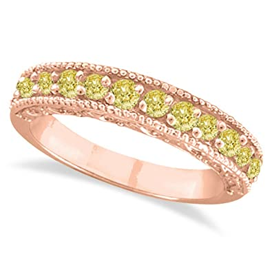 07324f65a Fancy Yellow Canary Diamond Ring Anniversary Band 14k Rose Gold (0.30ct)