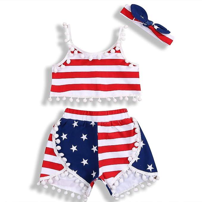 4th of July Toddler Baby Girl Romper American Flag Stars Stripes Pompom Tassel Balls Headband