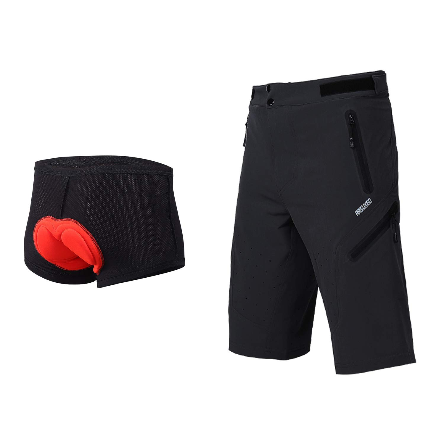 934f64408 Amazon.com  ARSUXEO Outdoor Sports Men s MTB Cycling Shorts Mountain Bike  Shorts Water Resistant  Sports   Outdoors