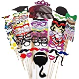 Matissa Photo Booth Props Selfie Kits Photography Wedding Christmas Hen Party Funny Face (76 Pieces Party)