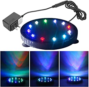 5 inch 12 LED Aquarium Bubble Light Air Stone, Fish Tank LED Air Bubbler Light Submersible Air Pump Bubble Stone Lamp for Turtle Fish Tank Decoration