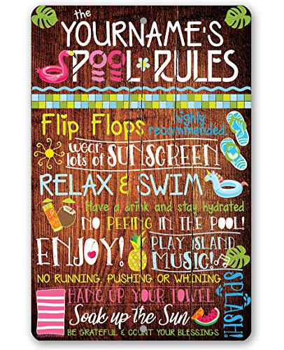 - Personalized Pool Rules - Durable Metal Sign - 8