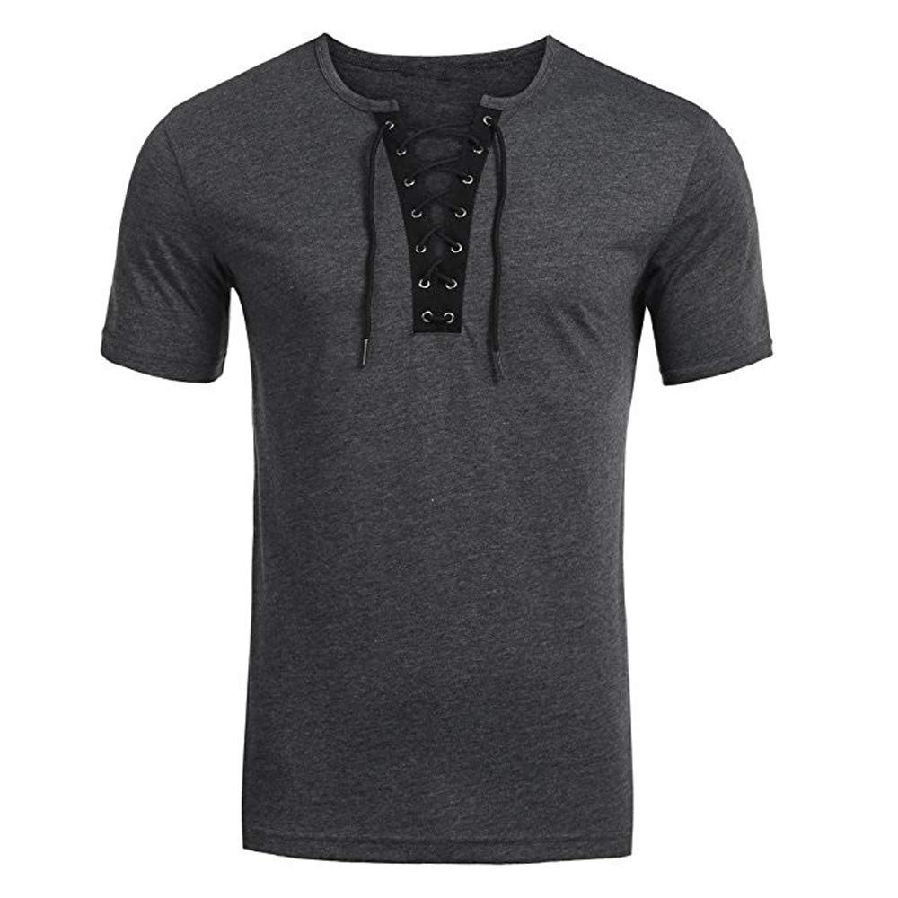 NUWFOR Men's Trend Personal Band Short Sleeve T-Shirt Pure Color Blouse Top(Gray,M US/XL AS Bust:39.3''