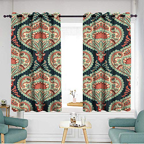 "home1love Kids Curtains W 72"" XL 45"" Oriental Seamless Paisley Wallpaper Pattern"