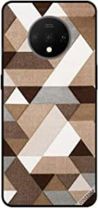 For OnePlus 7T Case Cover White & Brown Shapes Pattern