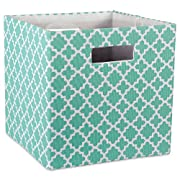DII Hard Sided Collapsible Fabric Storage Container for Nursery, Offices, Home Organization, (11x11x11) - Lattice Aqua