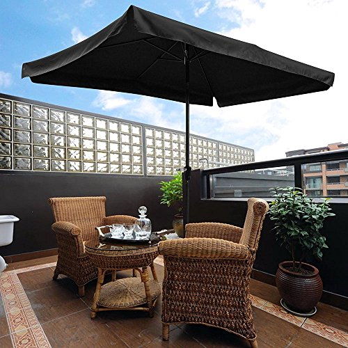 Yescom 10×6.5ft (2x3m) Rectangle Aluminum Outdoor Patio Umbrella w/Valance Sunshade Crank Tilt Market Garden Black Review