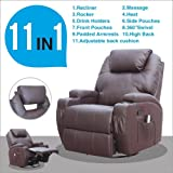 UEnjoy Recliner Chair Electric Swivel Leather Sofa 11in1 Massage Heating Chair