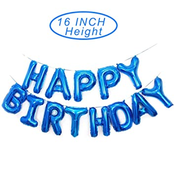 Happy Birthday Blue Balloons Banner16 Inch Mylar Foil Letters Reusable Ecofriendly Material For