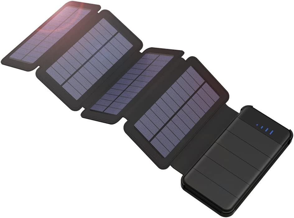 GIARIDE 10000mAh Solar Power Bank Detachable Foldable Solar Charger for iPhone, iPad, Samsung Galaxy, Outdoor, Camping and More