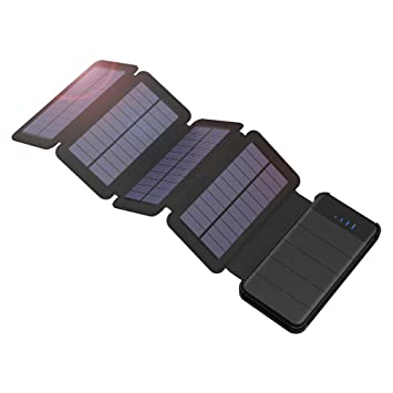 GIARIDE 10000mAh Desmontable Cargador Solar 4 Panel Solar Power Bank Dual USB (5V 2A) Batería Externa Portátil Plegable para iPhone, iPad, Samsung ...