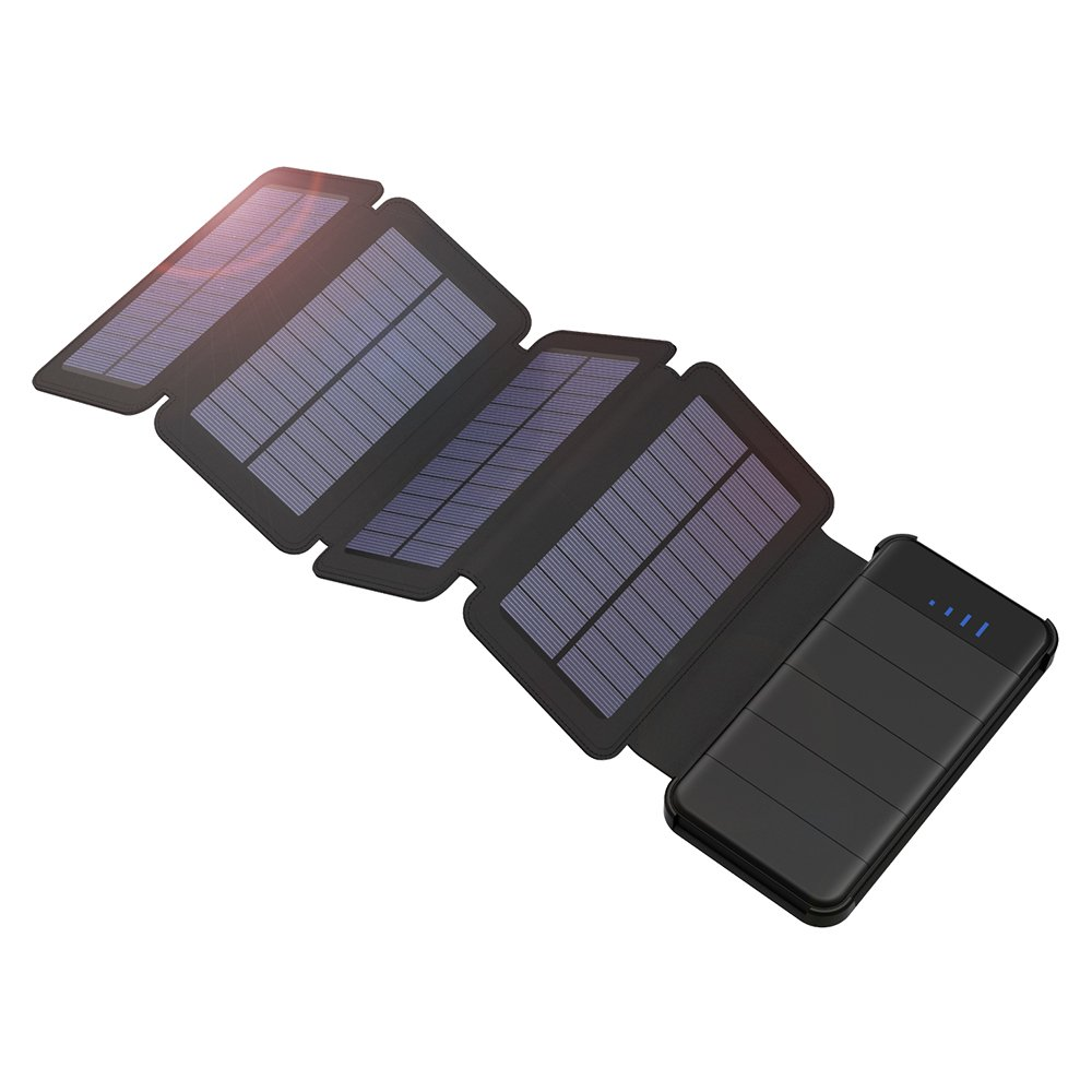 GIARIDE Detachable Solar Charger 10000mAh Dual USB Portable Solar Power Bank 4 Solar Panels Foldable Solar Battery Pack Compatible with iPad, Samsung Galaxy, LG, Pixel, Tablets and More