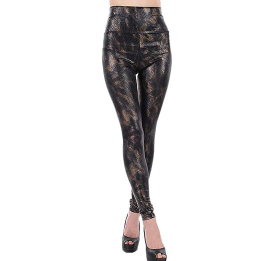 Amazon.com  IBTOM CASTLE Women Faux Leather Pants High Waist Leggings  Stretch Skinny Pencil Print Legging Black Snake Printed One Size  Clothing a3f4a7fdc711